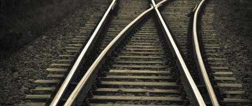 Järnvägsspår som delar sig